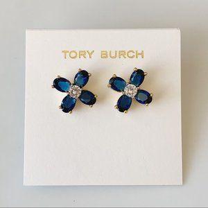 Tory Burch blue crystal flower earrings